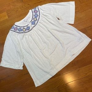 Gap Embroidered Boho Linen Top S